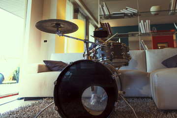 child prodigy plays the drums at home