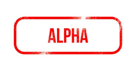 Alpha red grunge rubber - stamp