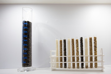 Test tubes with cereal seeds