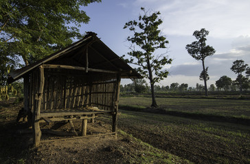 Old wood and bamboo bad weather hut Asia. Traditional building materials and designs Asia.