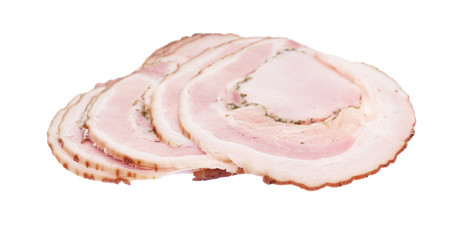 Slice roll bacon isolated on white background.