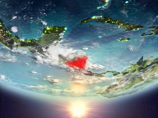 Nicaragua with sun