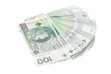 Polish 100 zloty banknote isolated on white background.