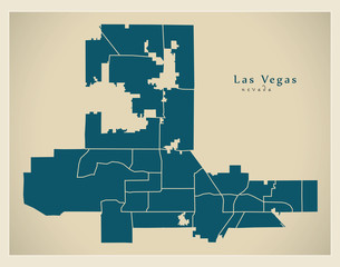 Modern City Map - Las Vegas Nevada city of the USA with neighborhoods