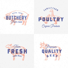 Premium Quality Vintage Meat and Poultry Labels. Retro Print Effect Emblems. Abstract Vector Sign, Symbol or Logo Template Set. Hand Drawn Cow, Pig, Lamb, Goose and Chicken Sillhouettes.