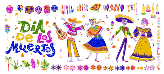 Vector dia de los muertos set of mexico traditional elements, symbols & skeleton characters in hand drawn style isolated on white background. Mexican celebration, national patterns & decorations.