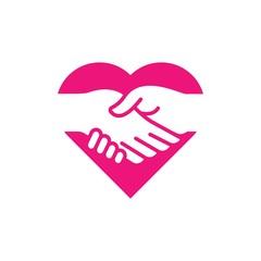 Handshake love partnership logo