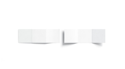 Blank white trifold booklet mock up, top view, 3d rendering. Plain z-fold square brochures mockup set. Front and rear view book cover template, isolated.