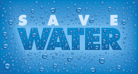 Save Water text on blue background with many water drops