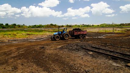 Asphalt mining in the Pitch Lake, La Brea in Trinidad and Tobago