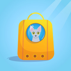 Pet carrier for cat Vector.