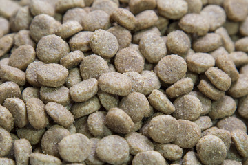 Close up dog food background.