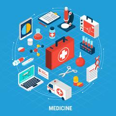 Medicine Isometric Concept