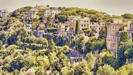 Glimpse of the hilly landscape of Italy village of Castel Gandolfo - Rome