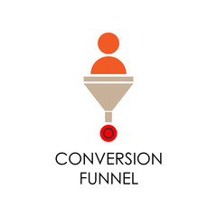 colored conversation funnel illustration. Element of marketing and business flat for mobile concept and web apps. Isolated conversation funnel flat can be used for web and mobile