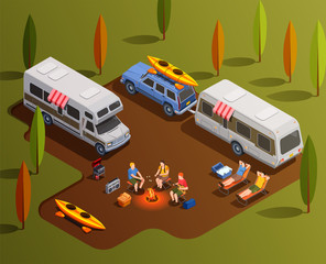 Friendly Camping Isometric Composition