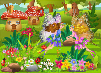 fairies flying in a magic fairy tale landscape with mushroom houses and beautiful flowers