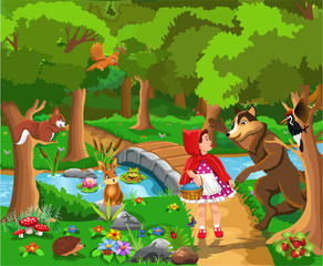 Red riding hood classic fairy tale vector illustration