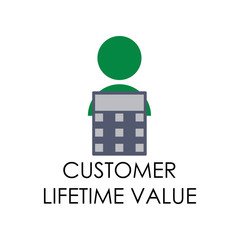 colored customer lifetime value illustration. Element of marketing and business flat for mobile concept and web apps. Isolated customer lifetime value flat for web and mobile
