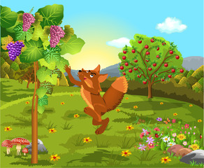 The fox and the grapes classic fable vector illustration