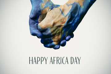 text happy africa day and map (furnished by NASA)