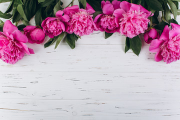 Pink and white peonies on a wooden background. Copy space and flat lay.
