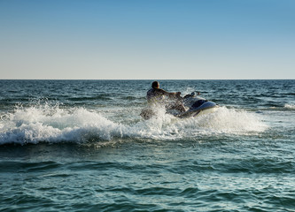 Printed roller blinds Water Motor sports Silhouette of man on jetski at sea