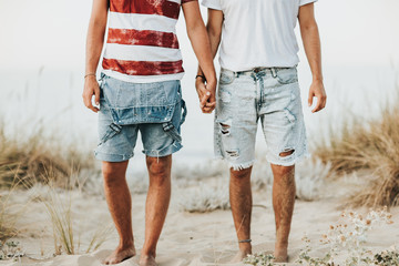 Gay couple holding hands at the beach