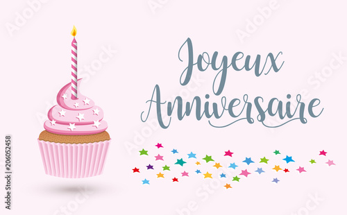 Cupcake Joyeux Anniversaire 4 Stock Image And Royalty Free Vector