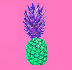 Fashion pineapple fruit on colorful pink background, ananas photo