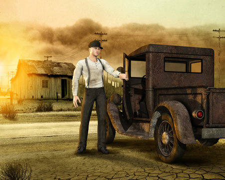 Working Man leaving a Dust Bowl 1930s Era Homestead