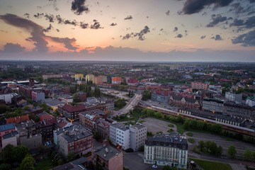 Aerial drone view on Zabrze city at dusk