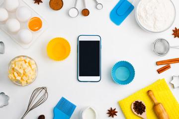 Kitchen baking mobile phone application service website mockup background