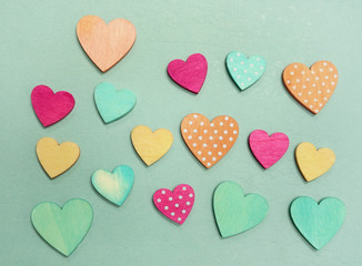 Pastel hearts on blue