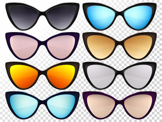 Sunglasses set. Trendy sunglasses colors. Fashion collection. Summer vacation item. Sunglasses for tropical trip. Cat eye rim style. Retro trend vector.