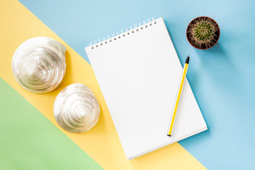 Summer vacations flatlay concept with notepad, cactus, seashells on pastel blue-green-yellow background.