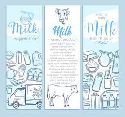Milk product banners template