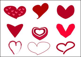 Set of Valentine Heart Icon Vector