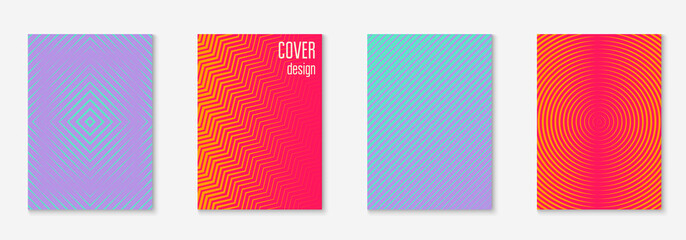 Gradient cover template set. Minimal trendy layout with halftone. Futuristic gradient cover template for banner, presentation and brochure. Minimalistic colorful shapes. Abstract business illustration
