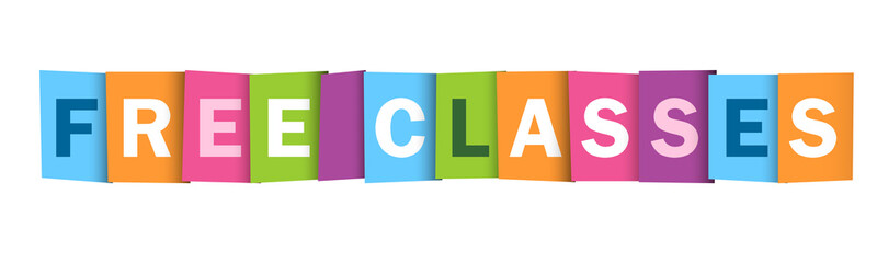"""""""FREE CLASSES"""" Colourful Letters Vector Icon"""