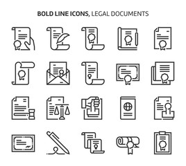 Legal documents , bold line icons
