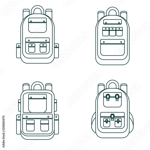 309bf505e63 Set of different backpacks, men, women and unisex. Backpacks isolated on white  background
