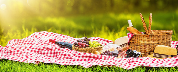 Foto auf AluDibond Picknick Picnic on a Sunny Day with Red Grapes and Wine