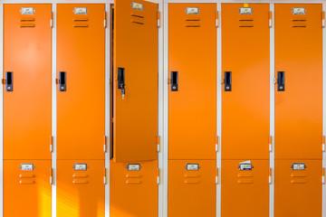 Closeup locker room in sport center.