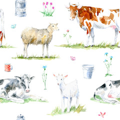 Seamless pattern of a cow,sheep,goat, flower and milk.Farm animals.Watercolor hand drawn illustration.White background.