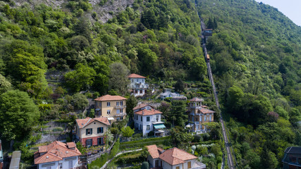 aerial view of chalet in the hills of Lake Como