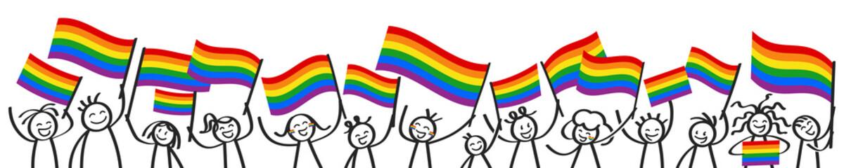 Unterstützer der LGBTQ Community schwenken Regenbogenfahnen, glückliche Strichmännchen, Demonstration, Protestmarsch, Banner