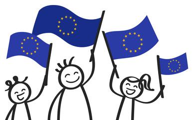 Strichmännchen mit Europaflaggen, Unterstützer der EU, Befürworter der Europäischen Union