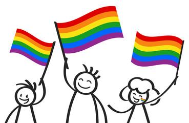 Unterstützer der LGBTQ Community schwenken Regenbogenfahnen, glückliche Strichmännchen, Demonstration, Protestmarsch