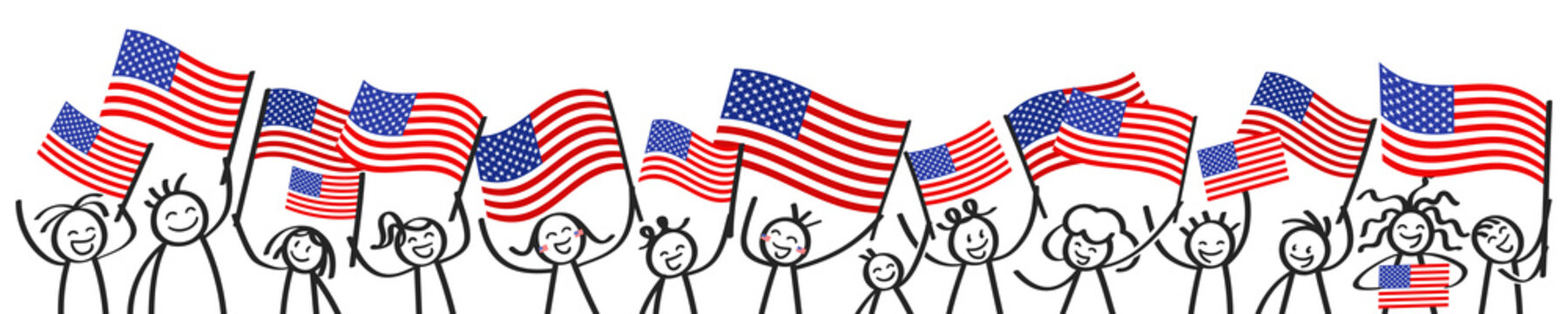 Cheering crowd of happy stick figures with American national flags, USA supporters smiling and waving star-spangled banner isolated on white background